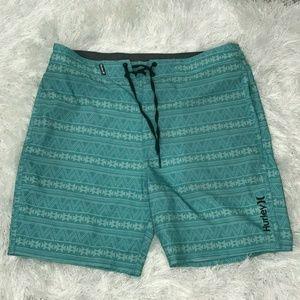 Hurley Mens Blue Plaid Drawstring Board Shorts 34